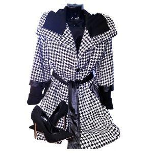 JOU JOU Black Wool Houndstooth Peacoat Coat